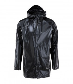 RAINS Short Coat shiny black voorkant