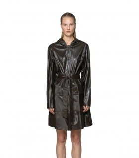 RAINS Belt Jacket Shiny Brown vrouwelijk model voorkant