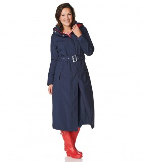 Happy Rainy Days padded lange regenjas dames Madonna vrouwelijk model voorkant