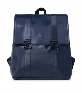 RAINS MSN Bag / Rugtas Shiny Blue voorkant