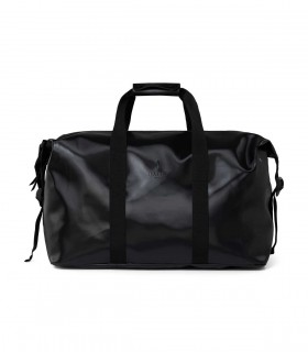 RAINS Waterdichte tas weekend bag Shiny Black voorkant