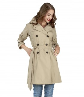 Happy Rainy Days trenchcoat met capuchon zandkleur + gratis techwash