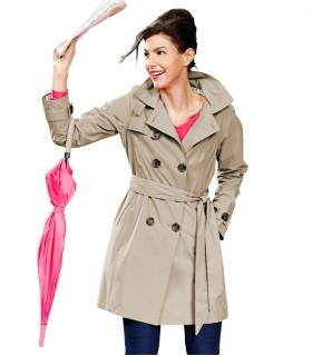 Happy Rainy Days trenchcoat met capuchon beige + gratis techwash
