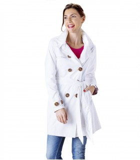 Happy Rainy Days trenchcoat met capuchon off-white + gratis techwash