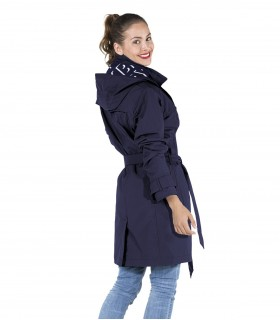 Regenjas dames trenchcoat Happy Rainy Days navy vrouwelijk model achterkant