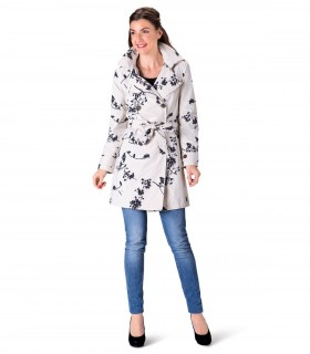 Happy Rainy Days trenchcoat met capuchon beige zwart motief + gratis techwash