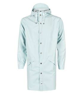 RAINS Long jacket RustLange regenjas dames en regenjas heren Rains long jacket wan blue voorkant volledig