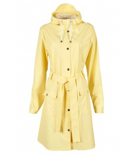 Regenjas dames Rains curve jacket wax yellow voorkant volledig