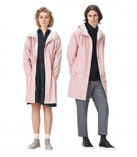 RAINS Long jacket RustLange regenjas dames en regenjas heren Rains long jacket rose mannelijk en vrouwelijk model