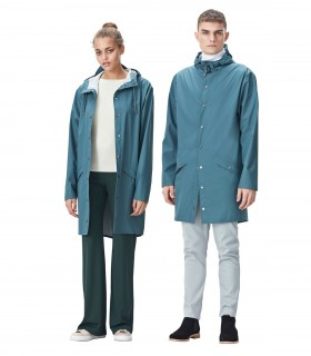 RAINS Long jacket RustLange regenjas dames en regenjas heren Rains long jacket pacific mannelijk en vrouwelijk model