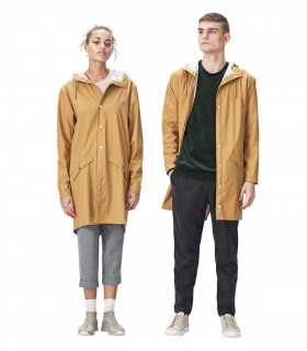 RAINS Long jacket RustLange regenjas dames en regenjas heren Rains long jacket khaki mannelijk en vrouwelijk model jas open