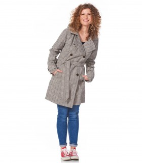 Happy Rainy Days trenchcoat met capuchon grijs navy strepen + gratis techwash