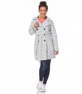Happy Rainy Days trenchcoat met capuchon off white zwart motief + gratis techwash