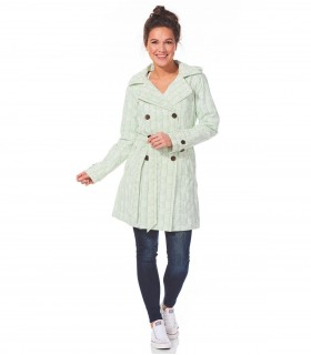 Regenjas dames trenchcoat Happy Rainy Days off white/olive motief vrouwelijk model voorkant