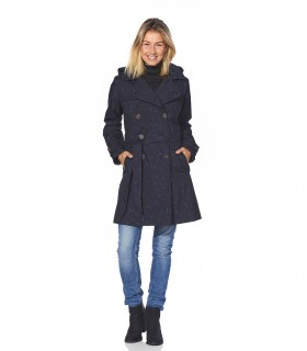 Regenjas dames trenchcoat Happy Rainy Days bella zwart/midnight vrouwelijk model voorkant