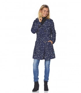 Regenjas dames trenchcoat Happy Rainy Days miranda midnight/off white vrouwelijk model voorkant