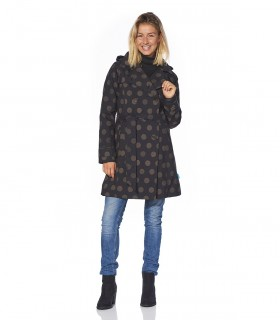 Regenjas dames trenchcoat Happy Rainy Days sandy zwart/safari vrouwelijk model voorkant