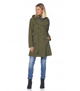 Regenjas dames trenchcoat Happy Rainy Days melody mos vrouwelijk model voorkant