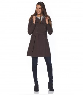 Regenjas dames trenchcoat Happy Rainy Days colette coffee vrouwelijk model voorkant