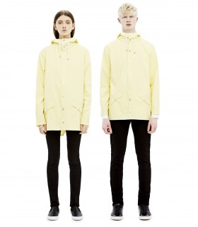 RAINS Long jacket RustLange regenjas dames en regenjas heren Rains long jacket wax yellow mannelijk en vrouwelijk model