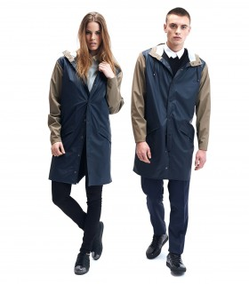 RAINS Long jacket soil/blauw