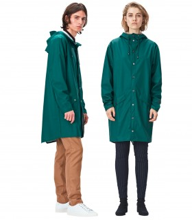 RAINS Long jacket RustLange regenjas dames en regenjas heren Rains long jacket dark teal mannelijk en vrouwelijk model