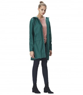 Lange regenjas dames Rains W coat dark teal vrouwelijk model schuin