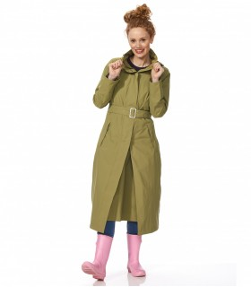 Lange regenjas dames happy rainy days sally vrouwelijk model voorkant