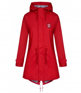 Regenjas dames Derbe travel friese striped rood voorkant volledig