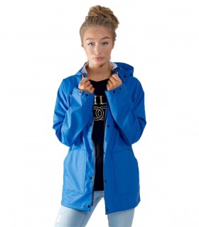 Rubber feel Hooded Jacket Blauw - Dames