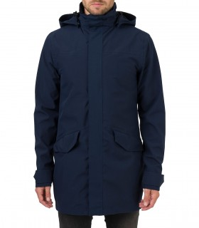 Regenjas heren AGU long parka jacket men blauw voorkant