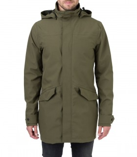 Regenjas heren AGU long parka jacket men groen voorkant