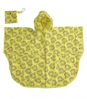 Love for Rain Kids regenponcho - Geel met wolkjes