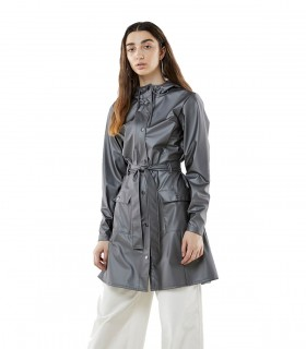 Regenjas dames Rains curve jacket metallic charcoal vrouwelijk model