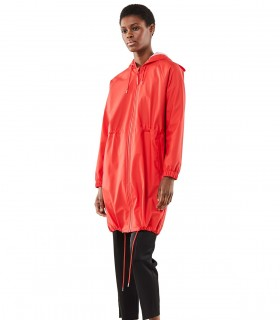 Rains long w jacket regenjas dames red vrouwelijk model